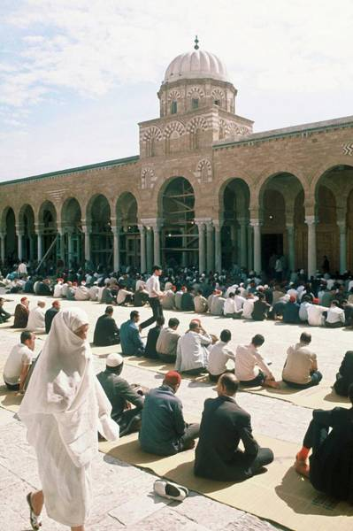 Tunisia Photograph - Tunisian Muslims Praying For The by Keystone-france