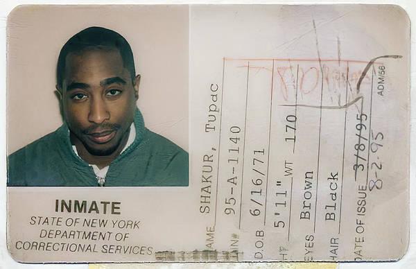 Wall Art - Photograph - Tupac Shakur New York Dept Of Corrections Prison I. D. 1995 by Daniel Hagerman