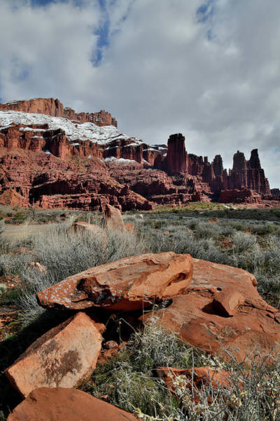 Photograph - Turbulent Skies Above Fisher Towers In Utah by Ray Mathis