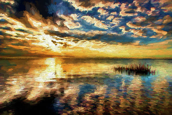 Wall Art - Painting - Turbulent Sunset On The Outer Banks Ap by Dan Carmichael