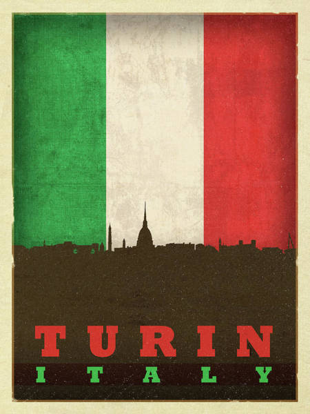 Wall Art - Mixed Media - Turin Italy City Skyline Flag by Design Turnpike