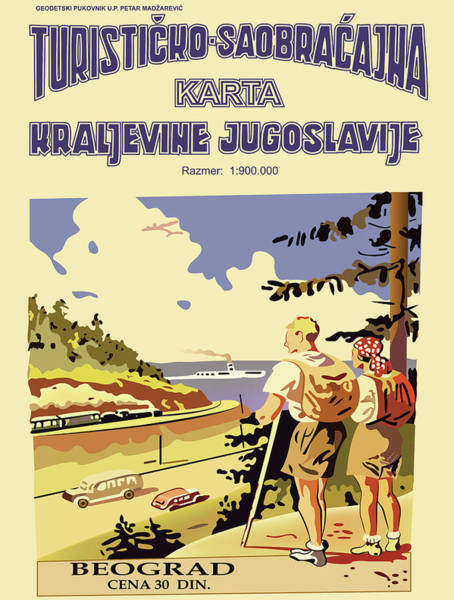 Hiking Digital Art - Turisticko Saobracajna Karta Kraljevine Jugoslavije by Long Shot