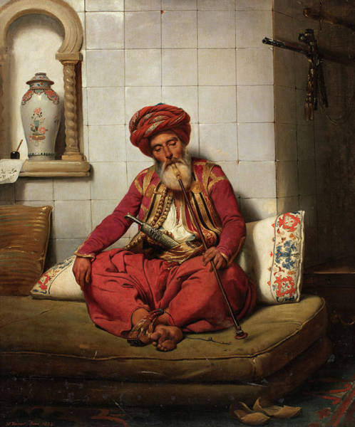 Wall Art - Painting - Turk With Hookah, 1834 by Horace Vernet