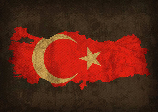 Turkish Mixed Media - Turkey Country Flag Map by Design Turnpike
