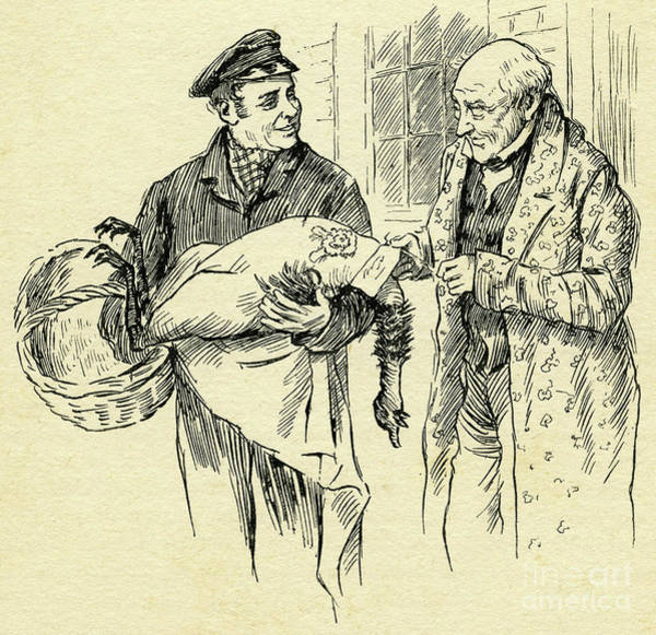 Wall Art - Drawing - Turkey Is Delivered On Christmas Day From Mr Scrooge by Harold Copping