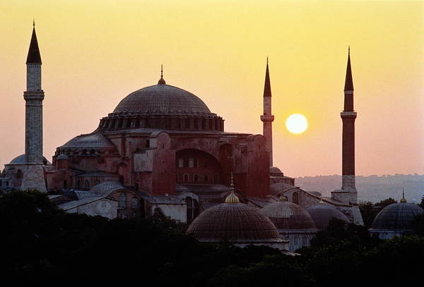 Hagia Sophia Photograph - Turkey, Istanbul, Ayasofya Museum, Sun by Laurence Dutton
