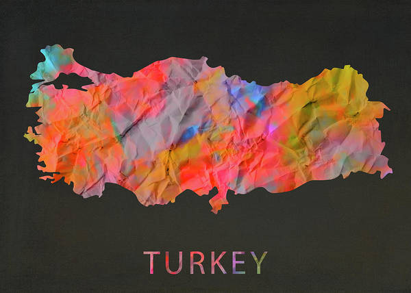 Wall Art - Mixed Media - Turkey Tie Dye Country Map by Design Turnpike