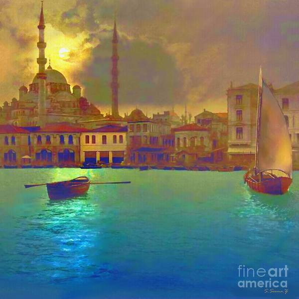 Relaxing Wall Art - Painting - Turkish  Moonlight by S Seema  Z