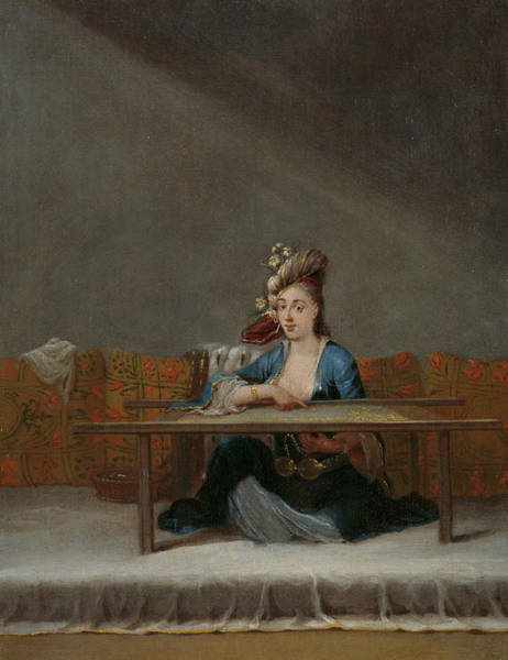 Embroidery Painting - Turkish Woman In Front Of Her Embroidery Frame by Jean Baptiste Vanmour