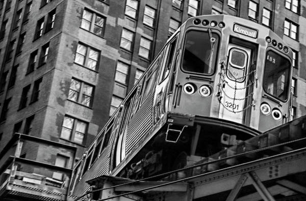 Wall Art - Photograph - Turning C T A Train In Chicago Loop by Daniel Hagerman