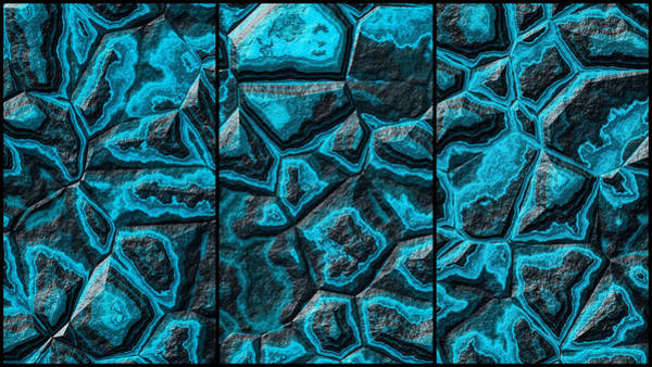 Digital Art - Turquoise Colored Stone Triptych by Don Northup