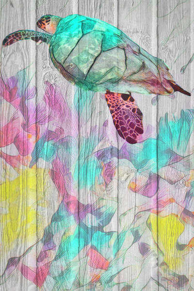 Photograph - Turtle At The Reef In Wood Textures Vertical by Debra and Dave Vanderlaan