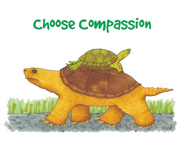 Painted Turtle Drawing - Turtle Compassion by Sarah Rosedahl