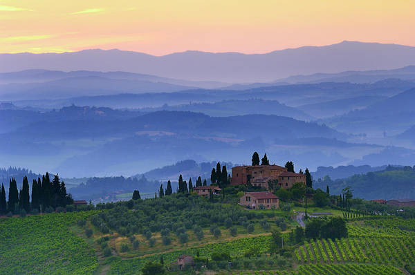 Tuscany Photograph - Tuscan Farmhouse With Cypress Trees by Cornelia Doerr