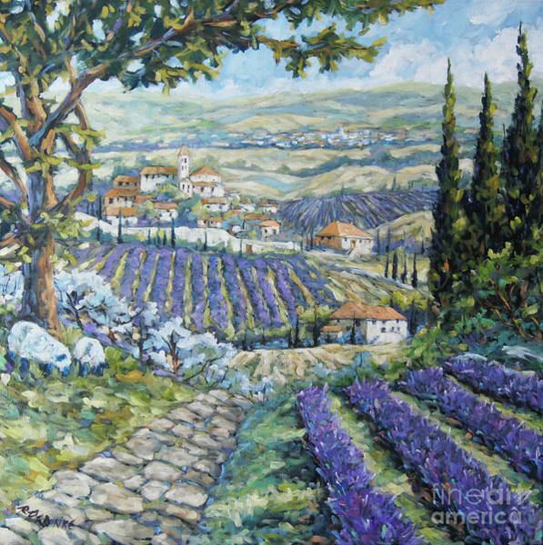 Floral Shower Curtain Painting - Tuscan Lavender Valleys By Prankearts by Richard T Pranke