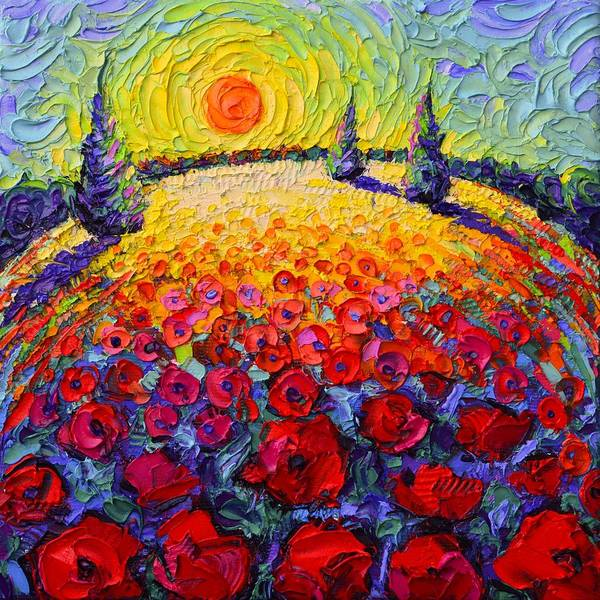 Painting - Tuscany Poppies Roundscape Sunrise Textural Impressionist Knife Oil Painting By Ana Maria Edulescu by Ana Maria Edulescu