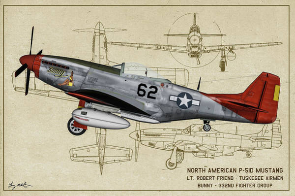 Wall Art - Digital Art - Tuskegee P-51d Bunny Profile Art by Tommy Anderson