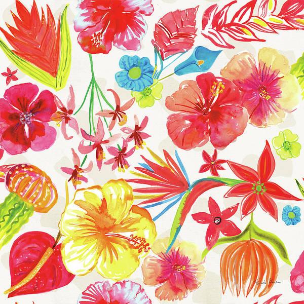 Hibiscus Flower Painting - Tutti Frutti Pattern Ia by Farida Zaman