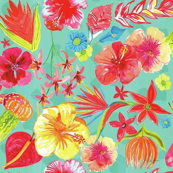 Hibiscus Flower Painting - Tutti Frutti Pattern Ib by Farida Zaman