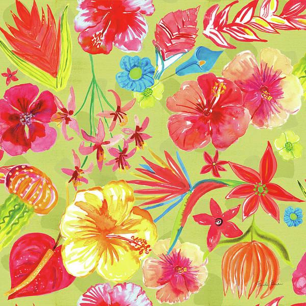 Hibiscus Flower Painting - Tutti Frutti Pattern Ic by Farida Zaman