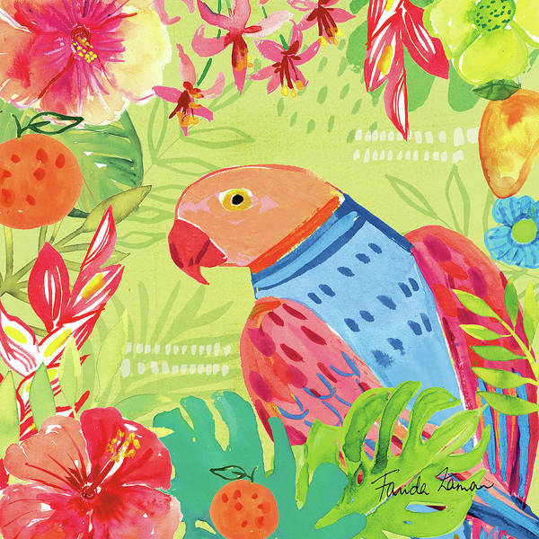 Hibiscus Flower Painting - Tutti Frutti V by Farida Zaman