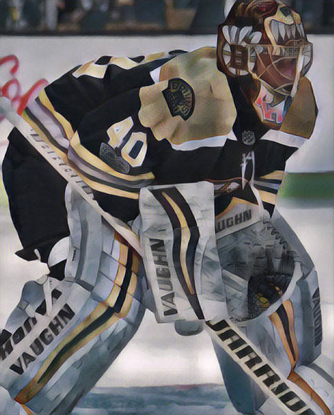 Wall Art - Mixed Media - Tuukka Rask Boston Bruins Abstract Art 1 by Joe Hamilton