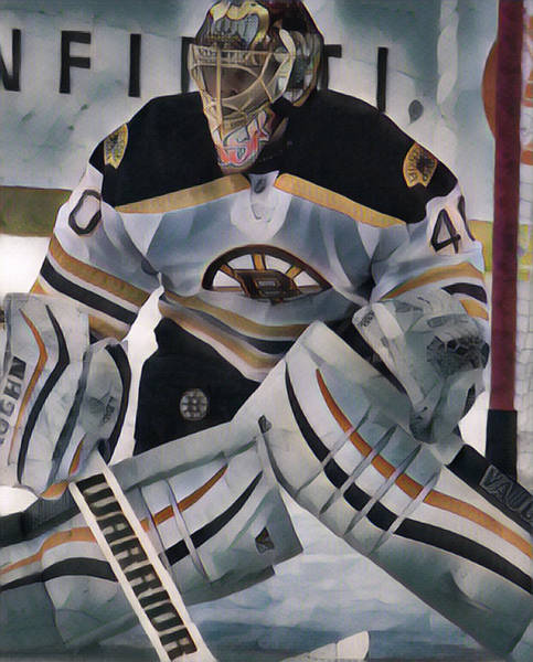 Wall Art - Mixed Media - Tuukka Rask Boston Bruins Abstract Art 2 by Joe Hamilton