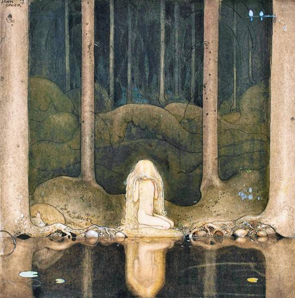 Wall Art - Painting - Tuvstarr Is Still Sitting There Wistfully Looking Into The Water - Digital Remastered Edition by John Bauer