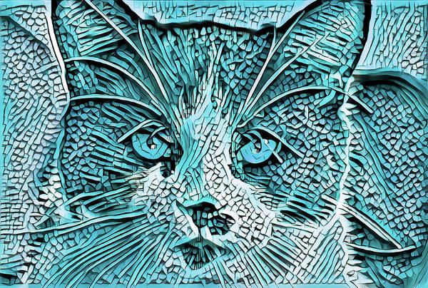 Digital Art - Tuxedo Cat Blue by Don Northup