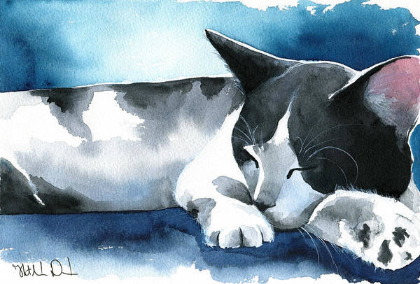 Painting - Tuxedo Dream Cat Painting by Dora Hathazi Mendes