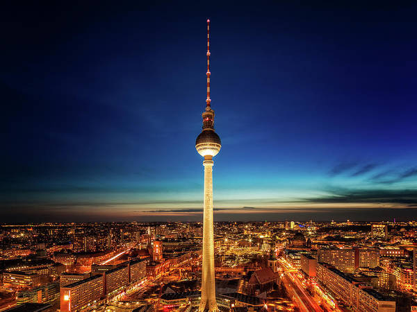 Photograph - Tv Tower At Night From Park Inn By Radisson - Berlin, Germany by Nico Trinkhaus