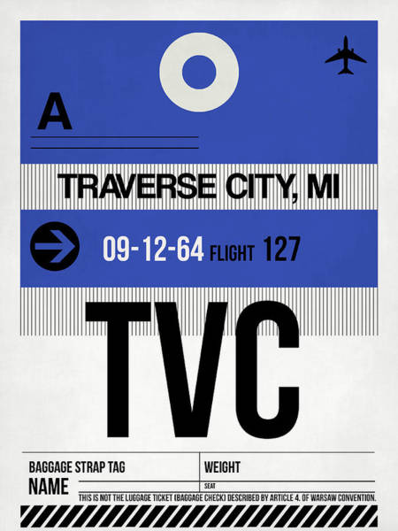 Wall Art - Digital Art - Tvc Traverse City Luggage Tag I by Naxart Studio