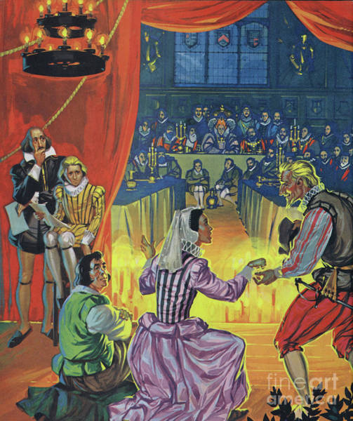 Wall Art - Painting - Twelfth Night In Front Of Queen Elizabeth I, With Shakespeare Listening Behind The Curtain by Angus McBride