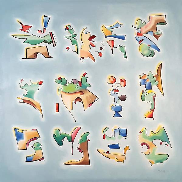 Painting - Twelve Glyphs by Dave Martsolf