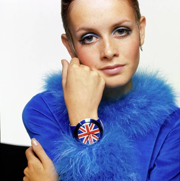 Drawing - Twiggy In Blue With Union Jack Watch by Bert Stern