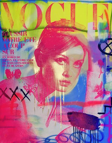 Vogue Mixed Media - Twiggy In Pink  by Shane Bowden