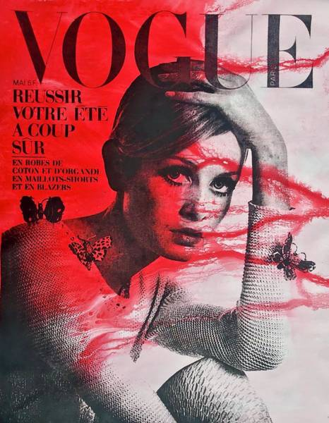 Vogue Mixed Media - Twiggy In Red by Shane Bowden