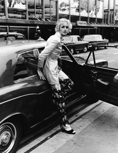 Actress Photograph - Twiggy Steps From Rolls by Express Newspapers