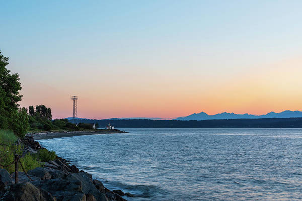 Digital Art - Twilight At West Point Lighthouse Beach, Seattle by Michael Lee