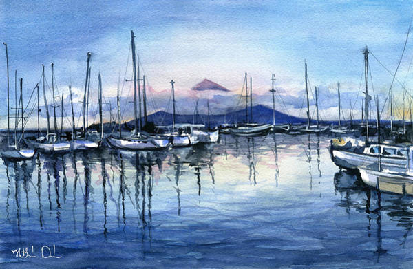 Painting - Twilight At Horta Azores by Dora Hathazi Mendes