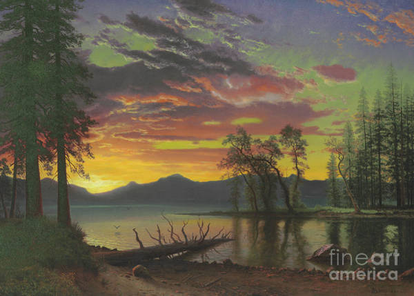 Wall Art - Painting - Twilight, Lake Tahoe by Albert Bierstadt