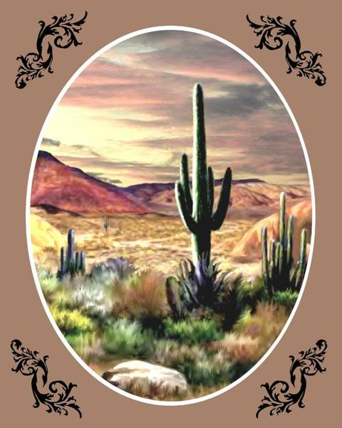 Wall Art - Painting - Twilight On The Desert - Oval by Ron Chambers