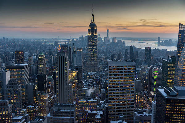 Photograph - Twilight Over Manhattan In Winter by Mark Hunter
