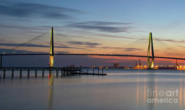 Photograph - Twilight Over The Lowcountry - Ravenel Bridge by Dale Powell