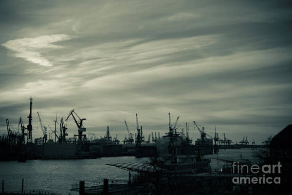 Photograph - Twilight Over The Port Of Hamburg.monochrome by Marina Usmanskaya