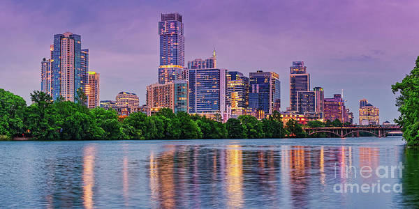 Photograph - Twilight Panorama Of Downtown Austin Skyline And Lady Bird Lake - Austin Texas Hill Country by Silvio Ligutti