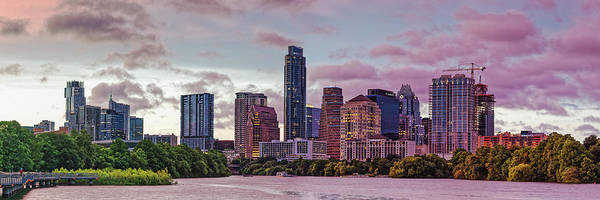 Photograph - Twilight Panorama Of Downtown Austin Skyline From Lady Bird Lake - Texas Hill Country by Silvio Ligutti