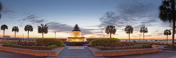 Wall Art - Photograph - Twilight Panorama Of Pineapple Fountain And Palmettos At Waterfront Park - Charleston South Carolina by Silvio Ligutti