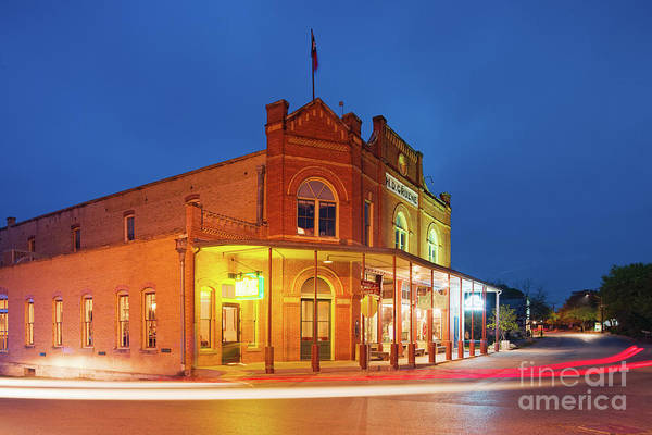 Photograph - Twilight Photograph Of H.d. Gruene Mercantile Building - New Braunfels Texas Hill Country by Silvio Ligutti