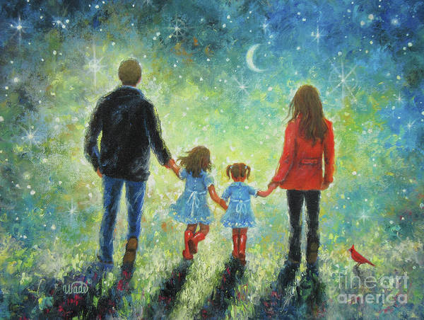 Wall Art - Painting - Twilight Walk With Mom And Dad Two Daughters by Vickie Wade